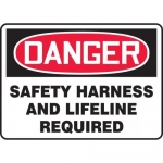 """Accuform MFPR107XT, Sign """"Safety Harness and Lifeline Required"""""""