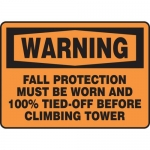 """Accuform MFPR383VS, Sign """"Warning Fall Protection Must Be Worn…"""""""
