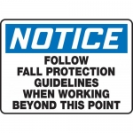 """Accuform MFPR800VS, Vinyl Sign """"Follow Fall Protection Guidelines…"""""""