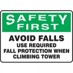 """Accuform MFPR985VS, Sign """"Avoid Falls Use Required Fall Protection…"""""""