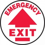 "Accuform MFS701, Slip-Gard Floor Sign ""Emergency Exit"" & Up Arrow"