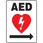 """Accuform MFSD417VA, Aluminum Sign """"AED"""" & Right Arrow Symbol"""