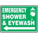 "Accuform MFSD427VA, Sign ""Emergency Shower and Eyewash"" & Left Arrow"