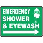 """Accuform MFSD428XL, Sign """"Emergency Shower & Eyewash"""" & Right Arrow"""