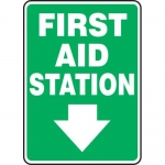 "Accuform MFSD433XF, Dura-Fiberglass Sign ""First Aid Station Sign"""