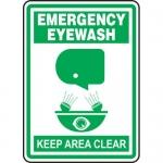 """Accuform MFSD518VP, Plastic Sign """"Emergency Eyewash Keep Clear"""""""