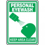 "Accuform MFSD520VS, Safety Sign ""Personal Eyewash Keep Area Clear"""