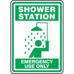 """Accuform MFSD525VP, Plastic Sign """"Shower Station Emergency Use Only"""""""