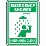 "Accuform MFSD527VP, Plastic Sign ""Emergency Shower Keep Area Clear"""