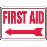 """Accuform MFSD532VA, Aluminum Sign """"First Aid"""" & Left Arrow Symbol"""