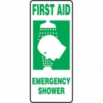"Accuform MFSD533VP, Plastic Sign ""First Aid Emergency Shower"""