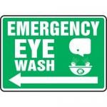 """Accuform MFSD539VP, Sign """"Emergency Eye Wash"""" & Left Arrow Symbol"""