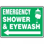 "Accuform MFSD540VP, Sign ""Emergency Shower and Eyewash"" & Left Arrow"