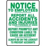 "Accuform MFSD549VA, Sign ""Report All Accidents and Injuries…"""