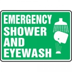 "Accuform MFSD550VP, Plastic Sign ""Emergency Shower and Eyewash"""