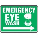 """Accuform MFSD551XL, Sign """"Emergency Eye Wash"""" & Right Arrow Symbol"""
