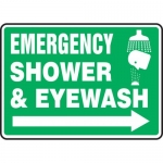 "Accuform MFSD552VP, Sign ""Emergency Shower & Eyewash"" & Right Arrow"