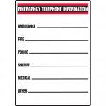 "Accuform MFSD553VP, Plastic Sign ""Emergency Telephone Information"""