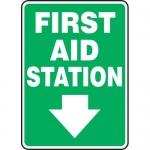 "Accuform MFSD561VA, Sign ""First Aid Station"" & Down Arrow Symbol"