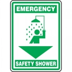 "Accuform MFSD568VA, 14″ x 10″ Aluminum Sign: ""Emergency Safety Shower"""
