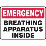 "Accuform MFSD572VS, Vinyl Sign ""Emergency Breathing Apparatus Inside"""