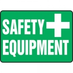 "Accuform MFSD577VS, 10″ x 14″ Adhesive Vinyl Sign: ""Safety Equipment"""