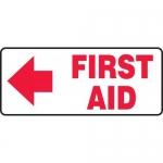 """Accuform MFSD589XL, Aluma-Lite Sign """"First Aid"""" & Left Arrow Symbol"""