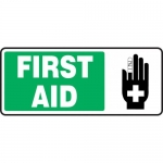"Accuform MFSD591VP, 7″ x 17″ Plastic Sign: ""First Aid"""