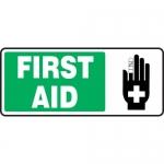 "Accuform MFSD591XF, 7″ x 17″ Dura-Fiberglass Sign: ""First Aid"""