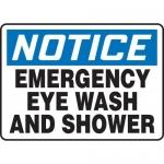 "Accuform MFSD803XL, Sign ""Notice Emergency Eye Wash and Shower"""