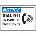 """Accuform MFSD804VP, Sign """"Notice Dial 911 in Case of Emergency"""""""