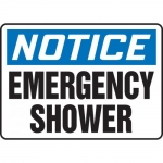 "Accuform MFSD817VS, Adhesive Vinyl Sign ""Notice Emergency Shower"""
