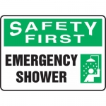 "Accuform MFSD902VP, Plastic Sign ""Safety First Emergency Shower"""