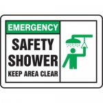 """Accuform MFSD929XL, Sign """"Emergency Safety Shower Keep Area Clear"""""""