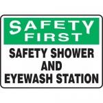 "Accuform MFSD947XL, Safety Sign ""Safety Shower and Eyewash Station"""
