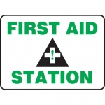 "Accuform MFSD959VA, 7″ x 10″ Aluminum Safety Sign: ""First Aid Station"""