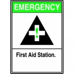 """Accuform MFSD965VP, Plastic Sign """"Emergency First Aid Station"""""""
