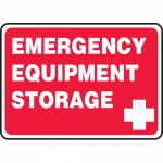 "Accuform MFSD967VS, Adhesive Vinyl Sign ""Emergency Equipment Storage"""