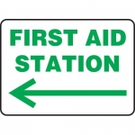 "Accuform MFSD979XL, Sign ""First Aid Station"" & Left Arrow Symbol"