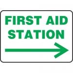 "Accuform MFSD980VA, Sign ""First Aid Station"" & Right Arrow Symbol"