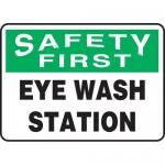 """Accuform MFSD982XL, Aluma-Lite Sign """"Safety First Eye Wash Station"""""""