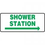 """Accuform MFSD995VA, Sign """"Shower Station"""" & Right Arrow Symbol"""