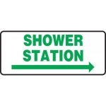 "Accuform MFSD995VP, Plastic Sign ""Shower Station"" & Right Arrow Symbol"