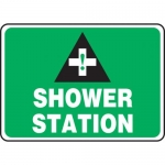 "Accuform MFSD998VP, 10″ x 14″ Plastic Safety Sign: ""Shower Station"""