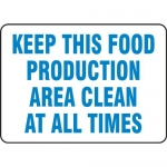 """Accuform MFSY539VP, Sign """"Keep This Food Production Area Clean…"""""""