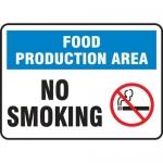 "Accuform MFSY553VA, Aluminum Sign ""Food Production Area – No Smoking"""