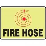 "Accuform MFXG436XL, 10″ x 14″ Aluma-Lite Glow Sign: ""Fire Hose"""