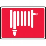 "Accuform MFXG521VA, 10″ x 14″ Aluminum Sign: ""Fire Hose Symbol"""