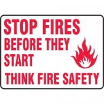 """Accuform MFXG535XT, Sign """"Stop Fires Before They Start Think Fire…"""""""