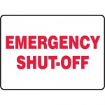 "Accuform MFXG538VP, 10″ x 14″ Plastic Sign: ""Emergency Shut-Off"""